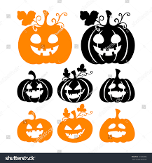 halloween background silhouettes halloween pumpkin silhouettes isolated on white stock vector