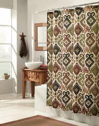 Oriental Bathroom Decor Bathroom Oriental Brown Ikat Shower Curtain For Traditonal