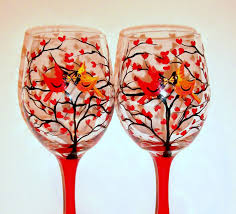 halloween goblets cardinals hand painted wine glasses love birds u0026 heart tree