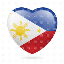 Philippines Flag Heart With Filipino Flag Colors I Love Philippines Royalty Free