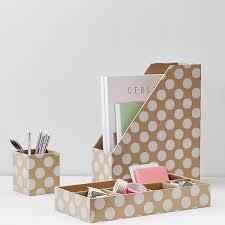 printed paper desk accessories set natural kraft u0026 white dot pbteen