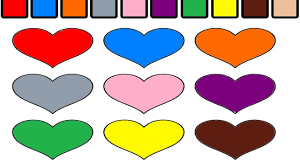 learning colors for children with coloring pages of hearts youtube