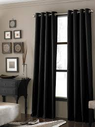 curtains with gray walls glass window with black wooden frame completed with long black