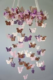 butterfly nursery mobile purple lavender and brown crib mobile