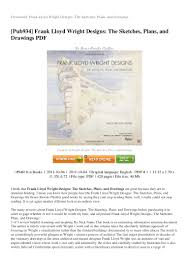 review frank lloyd wright designs the sketches plans and drawings pdf u2026