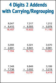 free addition worksheets 4 digits 2 addends with carrying regrouping