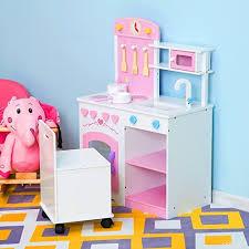 accessoires cuisine enfant homcom jeu d immitation jouet cuisine enfant en bois chaise avec