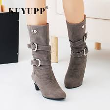 s boots plus size calf mid calf boots autumn winter shoes high heel s boots