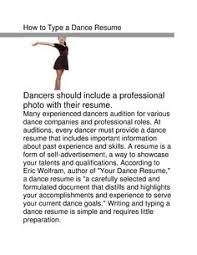 How To Write A Dance Resume How To Make A Resume Career Objective How To Write A Career