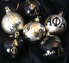 set of 6 fraternity ornaments inspired by alpha phi alpha 1906 by