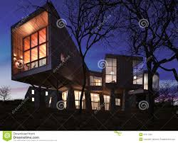 Stylish House very modern stylish house made of wood stone and glass stock