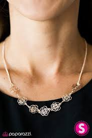 rose tone necklace images Paparazzi quot a rare rose quot dainty flower rose gold tone necklace jpg