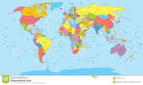 world map political with country names world map with countries country and city names illustration