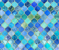 gold fabric cobalt blue and aqua decorative moroccan tiles with gold fabric