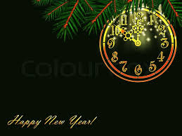 new years post cards new year post card with christmas tree branch and vintage clock