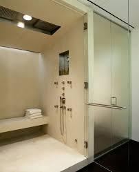 modern rain shower with shower bench bathroom modern and