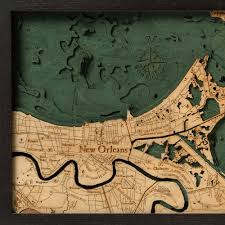 Map New Orleans by New Orleans Wood Map 3d Nautical Wood Chart Framed Art