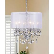 Chandeliers With Lamp Shades Allured Crystal Chandelier With Translucent Fabric Shade Free