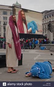 easter plays the of jesus in trafalgar square london uk on easter
