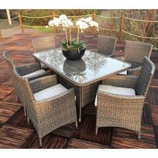 round table marlow rd marlow 6 seater garden furniture set with rectangular table garden