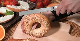 bagel knife with wide serrations the best way to slice a bagel