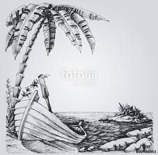 tropical island sketch sea shore palm trees and boat summer de
