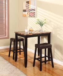 3pc counter height glossy print marble breakfast table with stools