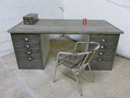 Metal Office Desk Vintage Industrial Polished Steel Wood Metal Office Desk Retro