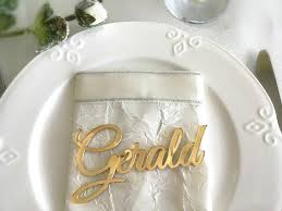 laser cut names wedding place cards gold mirror table names