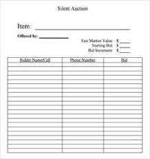 Raffle Sheet Template Free Printable Silent Auction Template Silent Auction Bid Sheet