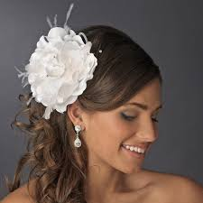 hair crystals feather flower hair clip bridal hair accessories