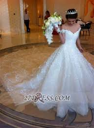 elegant off shoulder tulle wedding dress ball gown with lace