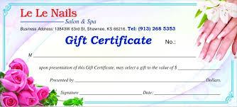 nail salon gift cards gift certificate le le nails salon spa