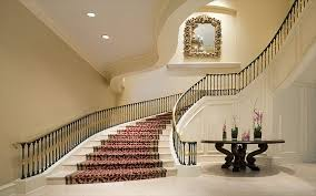 classy red carpet runner as modern staircase with rail banister as