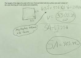 cube volume and surface area students are asked to calculate the