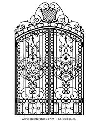 black metal gate forged ornaments on stock vector 648803494
