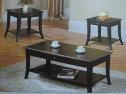 3394 Dark Brown Wood Coffee Table 2 End Tables Set Furniture