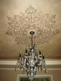 love the idea of a painted ceiling treatment around a light
