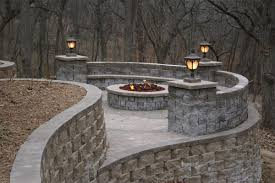 Patio Wall Lighting Outdoor Living With Seat Wall Firepit Retaining Walls And