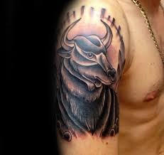 arm tattoo of bull guys taurus tattoo ideas hermy tats