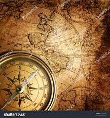 Compass Map Old Compass On Vintage Map Stock Photo 71205025 Shutterstock