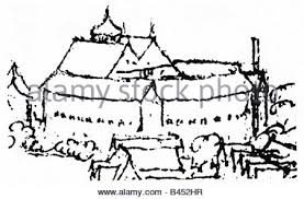 the globe theatre southwark london in the 17th century stock photo