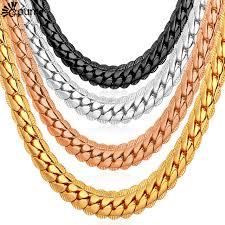 black gold chain necklace images Men chain necklace punk black gold color cuban necklaces men jpg