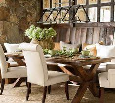 pottery barn farm dining table beachy dining room beadboard ceiling linear dining room light