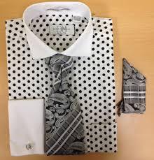 men u0027s fashion polka dot pattern cufflink dress shirt set white