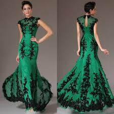 Green Dresses For Weddings Green Lace Evening Gown Images