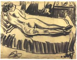 Couch Drawing Reclining Female On A Couch Ernst Ludwig Kirchner