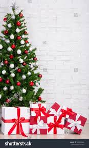 Decorated Christmas Tree Gifts by Gift Boxes Decorated Christmas Tree Colorful Stock Photo 490132966