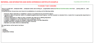 referral and information aide work experience certificate