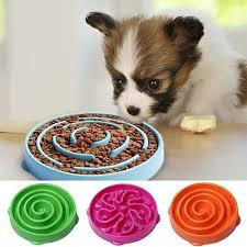 Snail shaped Anti choking Non toxic Plastic Pet Dog Bowl Prevent